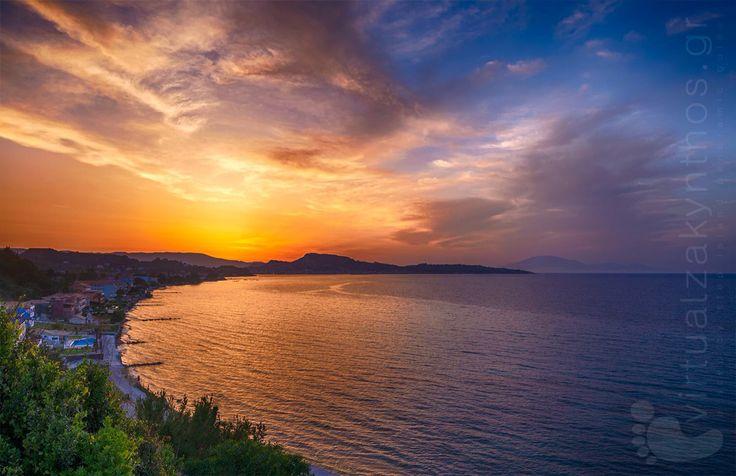 Argassi resort, Zante island, sunset Greece.