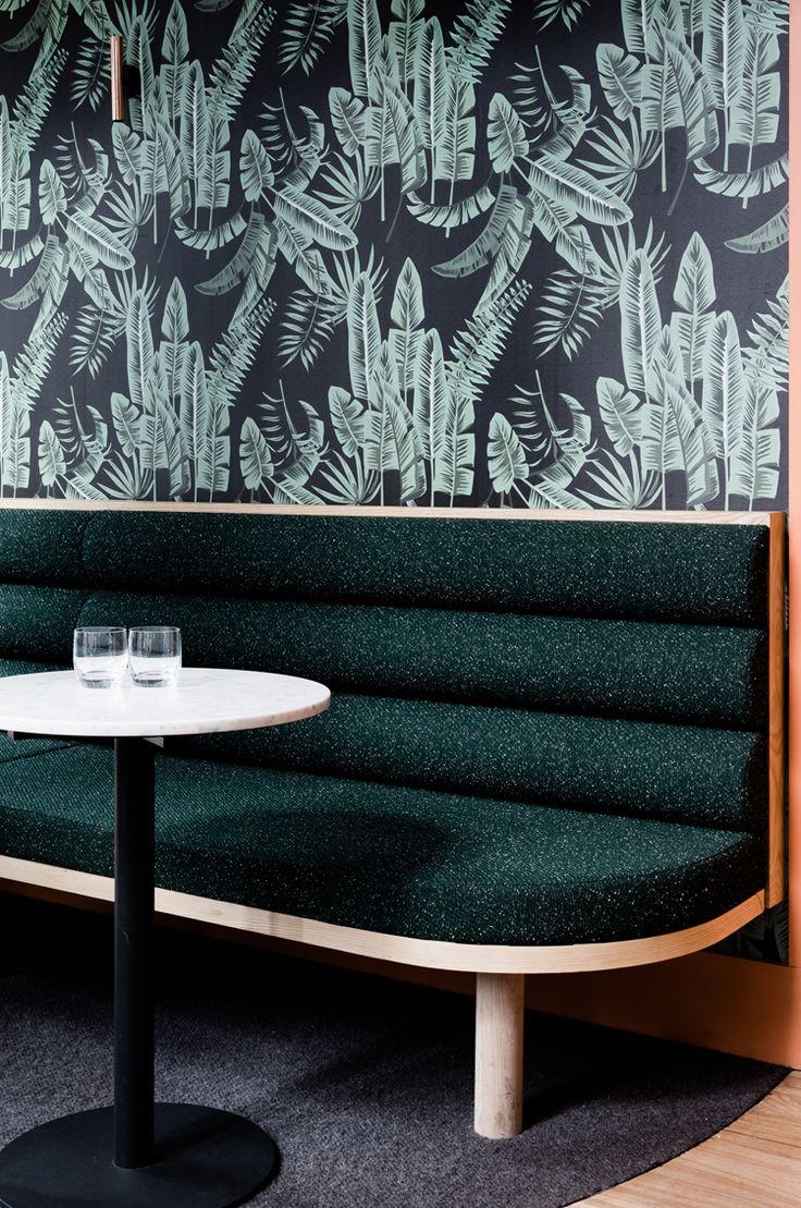 dark green retro feel dining booth