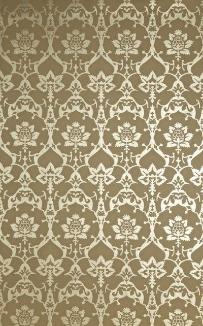 Brocade (BP 3205) - Farrow & Ball Wallpapers - £85 per roll. use this bold and elegant metallic on feature walls or cosy alcoves.