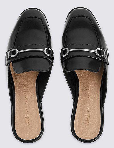 Block Heel Trimmed Mule Slippers | Marks & Spencer London
