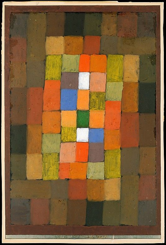 """Static-Dynamic Gradation 1923.  Paul Klee /  This watercolor reflects the artist's preoccupation with color relationships. Here, outer dark colors surround pure luminous ones in the center. In this work Klee devised a systematic movement, progressing from dark-hued brownish squares, which he dubbed """"static,"""" toward the clear-colored ones, which he called """"dynamic"""" by virtue of the contrasts they offer."""