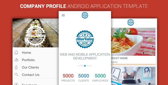 Company Profile Android App Template . iCompany Profile App Template is a native (java) template for Android application to demonstrate your company profile, service, contact and more. In this app you can add your about, portfolio, services, client etc of your company and also can integrate with your main website. Not only that you can