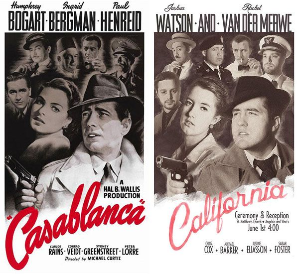 Casablanca the wedding? More movie posters remixed as wedding invitations at Visual News: www.visualnews.com/2013/07/23/casablanca-the-wedding-movie-poster-invitations/