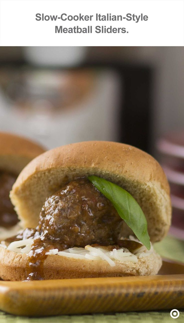 Melted mozzarella and savory meatballs are nestled within mini slider buns, the perfect starter for the big game.