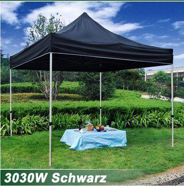 Faltzelt Faltpavillon 3 x 3m, aus Polyester mit PVC-Beschichtung, praktisch und elegant 3030W-Schwarz
