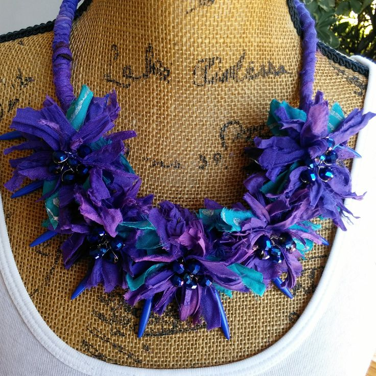 LOVE Jewelry Sale 25% Off  Use Code: LOVE25   Purple Sari Ribbon Statement Collar, Gypsy Style, Recycled Sari Silk Ribbon, Bib, Statement Collar Necklace, Fiber Necklace