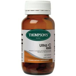 Thompsons Ultra C is a powerful antioxidant containing vitamin C, bioflavonoids, rosehips and zinc. Thompsons Ultra C is formulated to be gentle on the stomach and readily absorbed by the body.