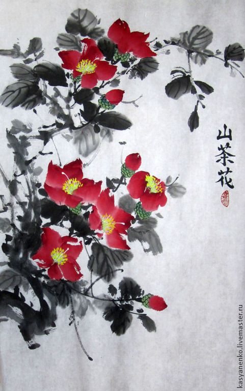 Купить Красная камелия - разноцветный, китайская живопись, гохуа, камелия, купить картину, цветы