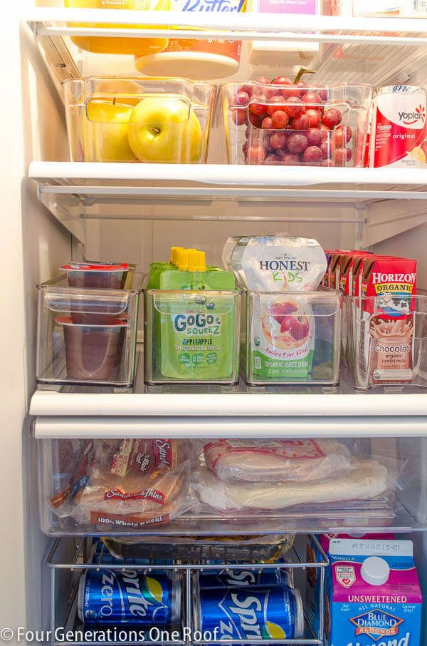 Juice boxes hidden in every nook and cranny? Put them all in one small bin. Hot sauce fanatic? Corral all those spicy fuckers. You don't have to divide your entire fridge (because that does take some time), but if you like having one bin, you can think about adding others. Read more about how this mom organized her fridge here.