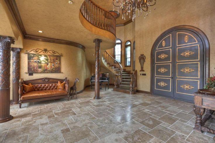 Best Huge Wooden Door With Spiral Stair Case Beautiful Tile 640 x 480