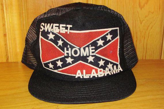 SWEET HOME ALABAMA Original Vintage 80s Black & Red Flag MeshTrucker Hat at HatsForward