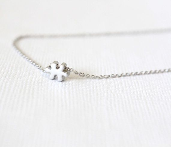 Silver Dainty Necklace  Puzzle piece necklace by lizaslittlethings, $16.00