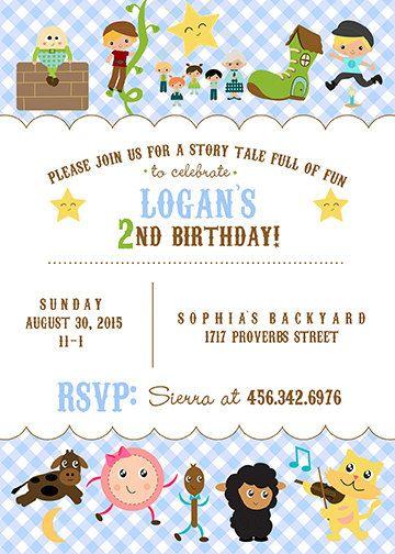 Nursery Rhymes Birthday Card 5x7 JPG by CherryBerryDesign on Etsy