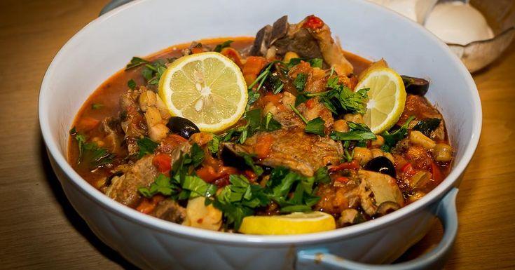 Cuisine-à-Vous - Lamsstoofpotje met olijven, artisjokken en kikkererwten