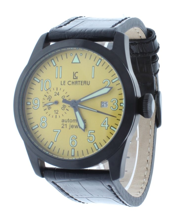 Le Chateau 7081-YBK Men's Automatic Watch Yellow Dial Black Stainless Steel Case GMT