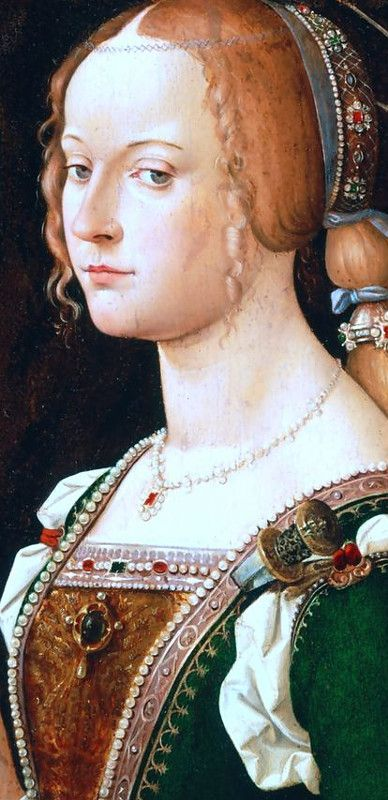 Bartolomeo Montagna - Isabella d'Este (1474-1539) als Saint Justina of Padua , fragment by 1490s