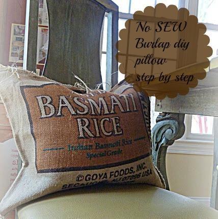 Diy it: No Sew burlap pillow. Repurpose.
