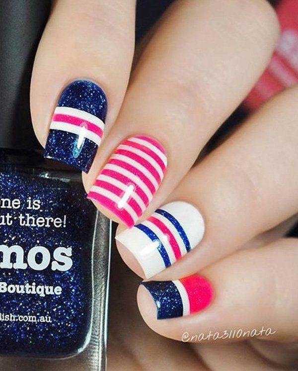 Stripes are one of the most popular and easiest nail art designs that can help you celebrate any holiday or event; including Fourth of July. And here's a proof it works.