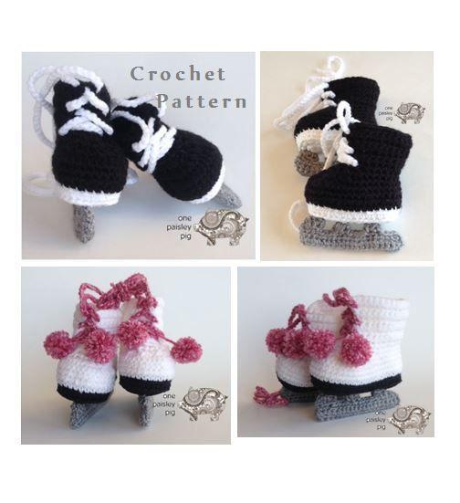 Crochet Pattern - Ice Skates (Hockey & Figure Skates) Baby Booties (Fun Crochet Patterns, diy, inspiration)