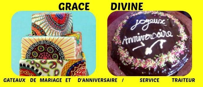 GRACE+DIVINE+-+Gâteaux+d'anniversaire+et+de+mariage+-+Décoration+de+locaux+et+voitures+-+Cuisine+africaine+et+européenne+-+Service+traiteur.