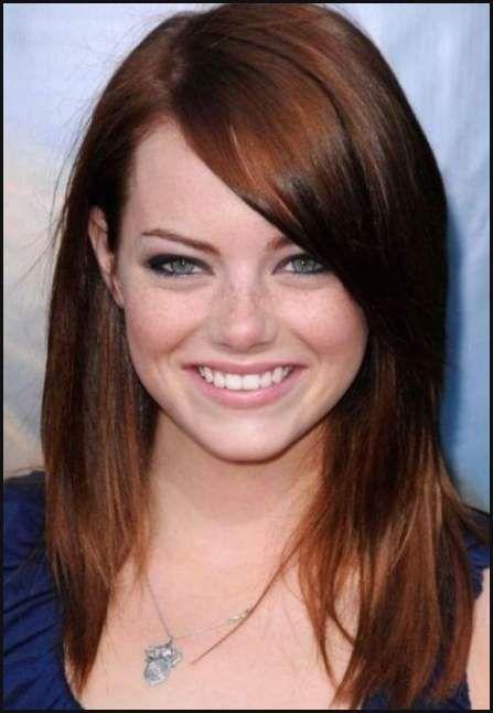 Best Frisur Lange Haare Rundes Gesicht Augen Make Up Für Braune