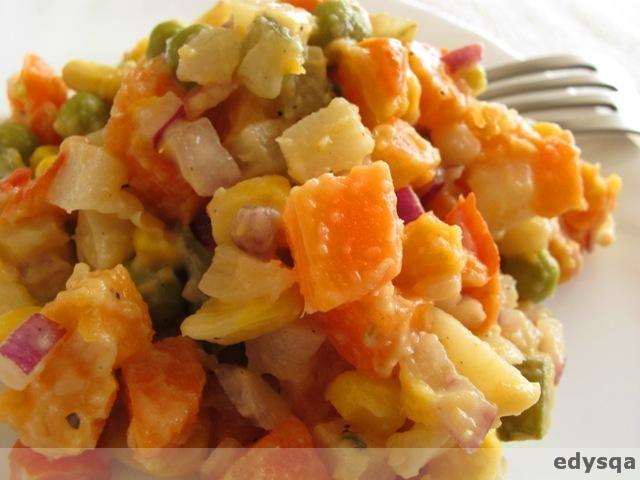 Dzisiaj mam dzień batata. Na pierwszy ogień poszła swojska sałatka jarzynowa, ale z bogatszym trochę składem i pysznym wege majonezemw smaku nie odbiegającym od jajecznych, za to prostym w przygotowaniu 🙂 Zdecydowanie najlepszy wegański majonez 🙂 Sałatka Składniki: – 2 marchewki, – 2 pietruszki, – 1/2 sporego batata (słodkiego ziemniaka), – kawałek selera, – 1 …