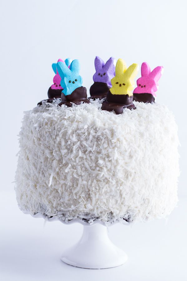 Six-Layer Coconut Covered Chocolate Peeps Cake = the best springtime dessert