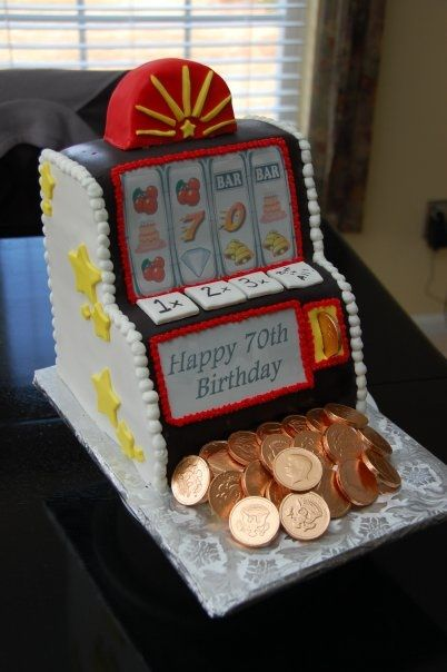Slot machine cake cut and carved from yellow sheet cake 12 x 18  Fondant details - chocolate coins - 100% edible :)