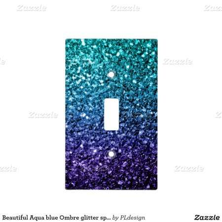 Beautiful Aqua blue Ombre glitter sparkles Light Switch Plate by #PLdesign #BlueSparkles #SparklesGift