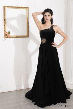 Noir A-ligne de robe noire une robe épaule, robe bustier noire