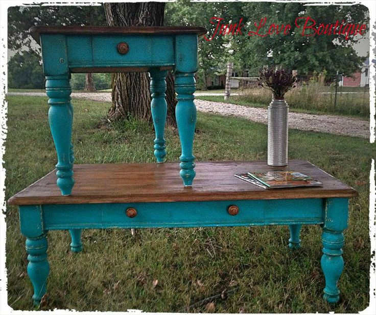 Teal/Turquoise end table and coffee table -Junk Love Boutique