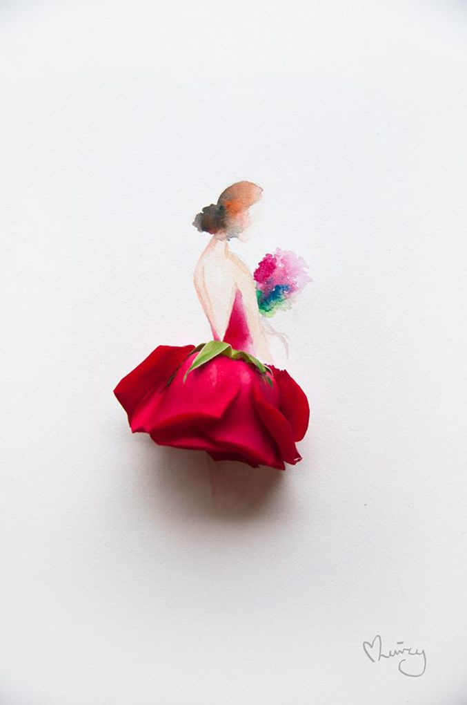 Artist Creates Beautifull Illustrations Using Real Flowers | http://www.123inspiration.com/artist-creates-beautifull-illustrations-using-real-flowers/
