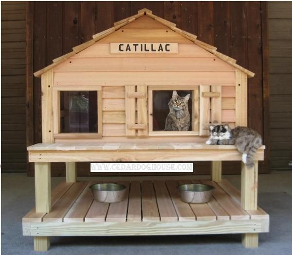 CATillac Insulated Cat House w/ Window plus Heated Cat House OPTION