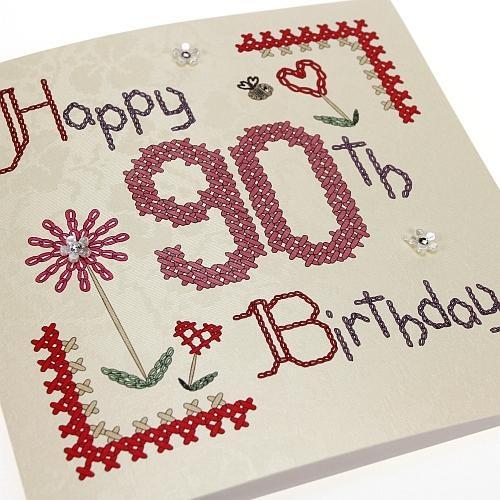 Handmade Cross Stitch 90th Birthday Card - 90 - 'Happy 90th Birthday'. Buy Here: http://thehandcraftedcardcompany.co.uk/cardcrafts/7960-homespun.asp?refid=7976