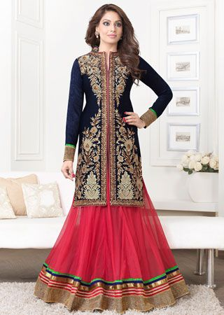 Design Embroidery Work with full Sleeves, with Pure Chiffon Dupatta Lightighting the elements of this Navy Blue Kameez with Pink Lehenga having a multi-colour of  borders. For buy contact us website : http://highlifefashion.com/