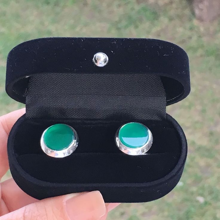 Turkish Handmade 925 Sterling Silver Round Green Onyx Men's Cufflinks Alltobuy | eBay