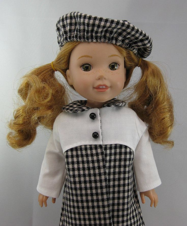 Wellie Wisher Black and White Coat and Hat by TheForgetMeNotShop on Etsy