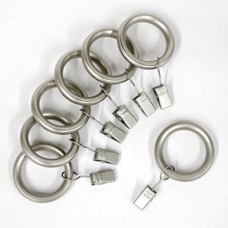 Lumino Brushed Nickel Curtain Clip Rings Set Of Seven Curtains