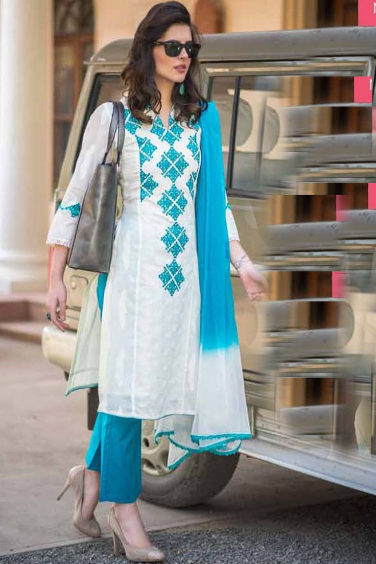 #White & blue adorable #cotton #salwar with chiffon dupatta-SL6040