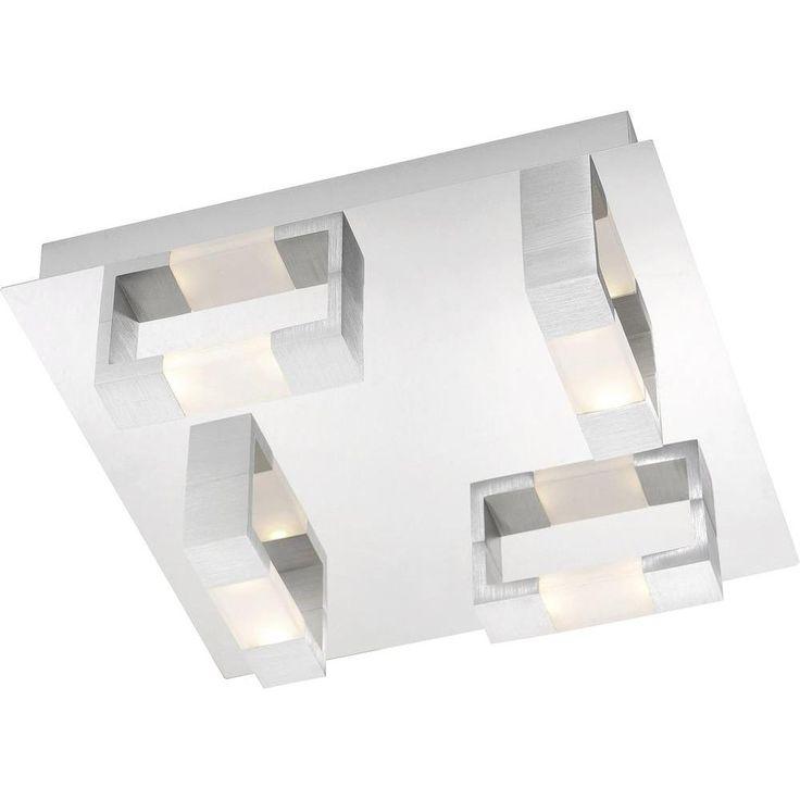paul neuhaus 2198 96 8 light led aluminium flush ceiling fitting ip rated ip44 height 85mm. Black Bedroom Furniture Sets. Home Design Ideas