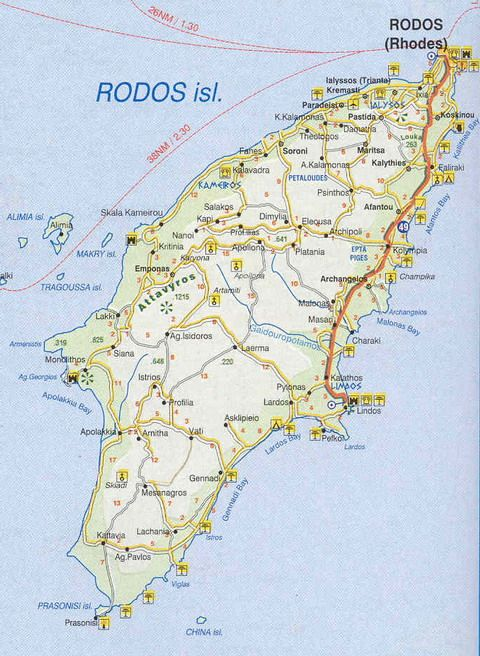 Map of Rhodos - very beautiful and a lot of nice things to see. Not to big so it's possible to see most of the things in a few days with a rental car