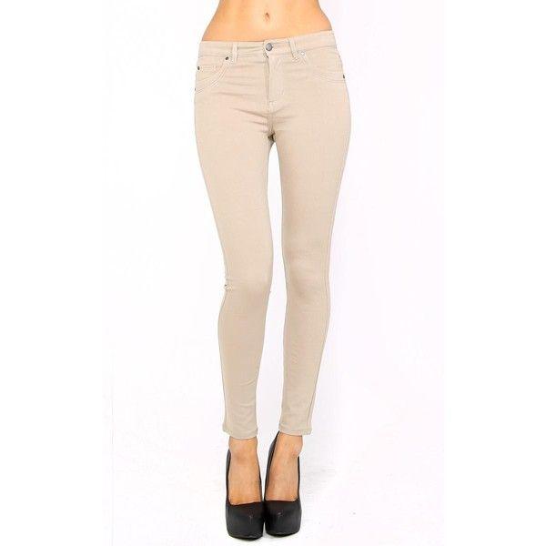 Wanna Bubble Butt Jeggings ($23) ❤ liked on Polyvore featuring pants, leggings, khaki, knit jeggings, white khaki pants, jeggings pants, khaki trousers and khaki jeggings