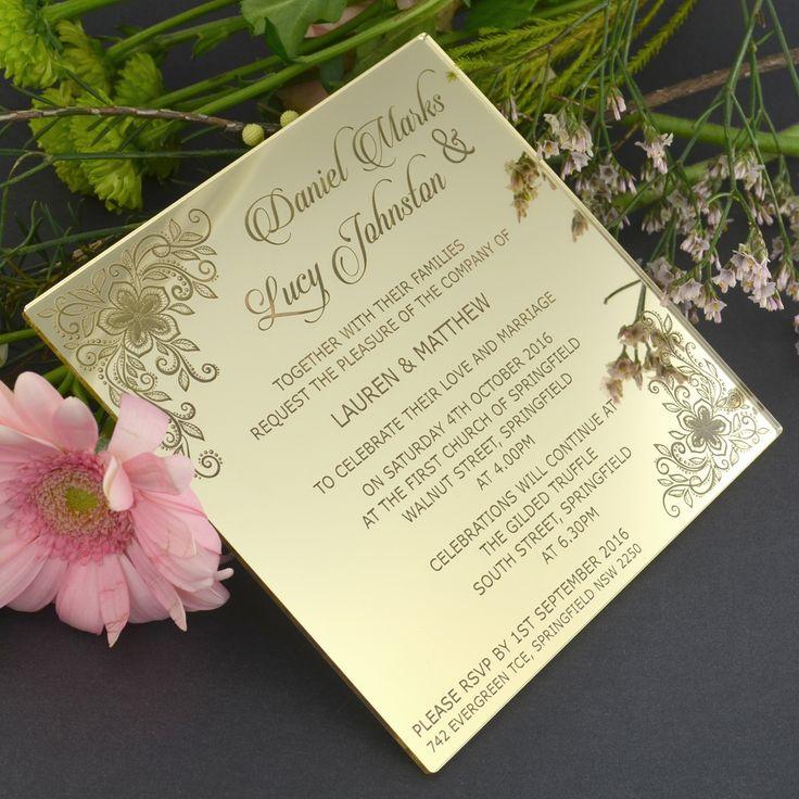 C6 Engraved Acrylic Wedding Invitations, Engraved Wedding .