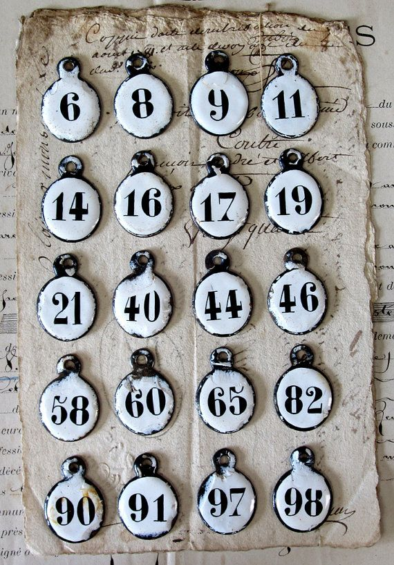 Antique French Enamel Hotel Number Key Tags- this would be a unique and beautiful way to show case family birthdays