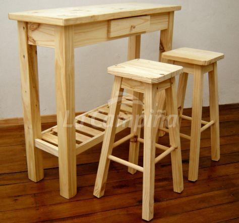 COCINA mesa desayunador con 2 taburetes sin respaldo