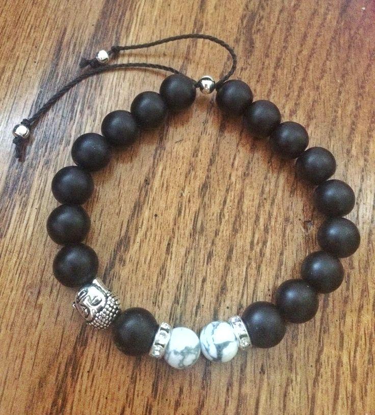 Men's Buddha Bracelet, Black Onyx Howlite Bracelet For Men, Adjustable Yoga Meditation Bracelet Gift For Him, Beaded Charm Stone Bracelet by JellyTreeJewelry on Etsy https://www.etsy.com/ca/listing/534405985/mens-buddha-bracelet-black-onyx-howlite