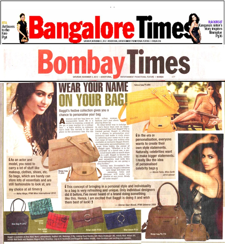 Baggit's back in Bombay Times and Bangalore Times as India's first brand to offer an innovative way to personalize your bag!