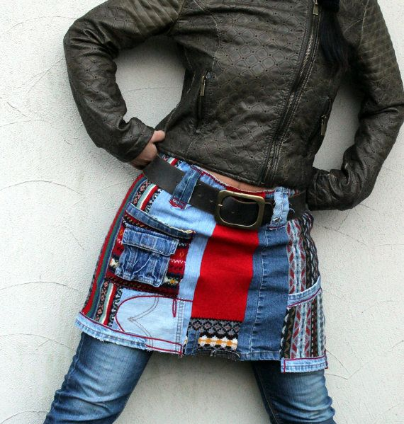 Reserved for Malia Storey M-L mini skirt recycled jeans and sweaters, back and hips warmer