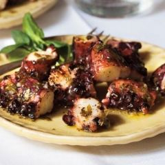 Healthy eating for the weekend. Grilled Octopus with Lemon and Olive Oil
