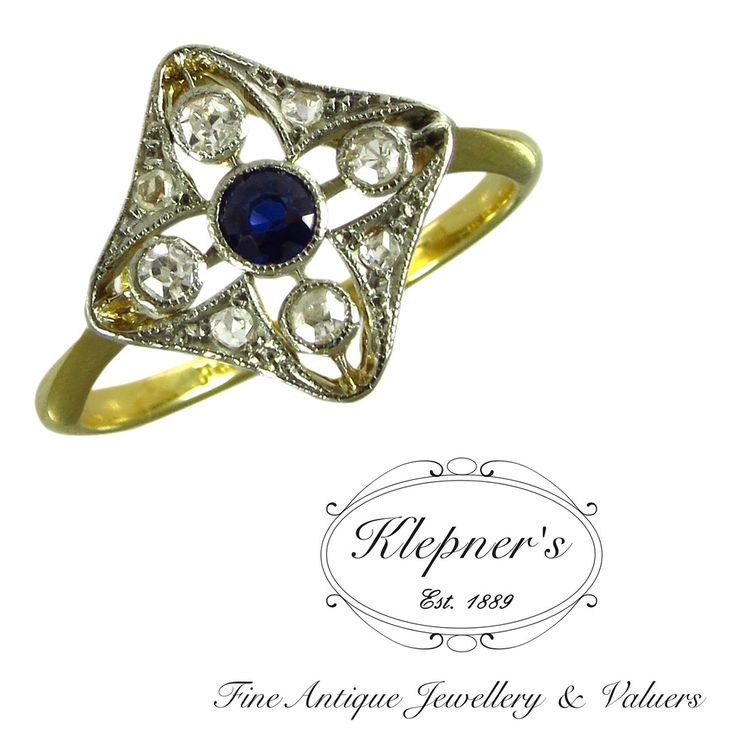 Platinum & 18ct yellow gold vintage geometric diamond shaped plaque ring, centrally rub set with a 0.16ct old cut ceylon type sapphire, surrounded by four 0.03ct old diamonds and 0.005ct rose cut diamonds, G in colour, SI in clarity. Visit us at www.klepners.com.au